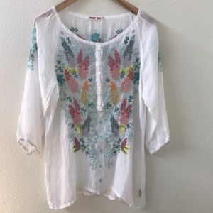 Johnny Was Embroidered Tunic Floral Hummingbirds